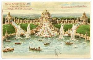 1904 St Louis Exposition Cascade Gardens Grand Basin HTL Hold to Light Postcard