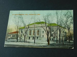 C.1905-10 St. Clair Memorial Hall Greenville, Ohio Vintage Postcard