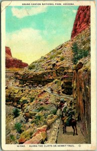 1925 Fred Harvey GRAND CANYON Postcard Along the Cliffs on HERMIT TRAIL Mules