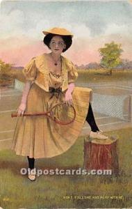 Woman in Sports Artist Signed Postcard Wont you come and play with me Unused