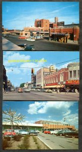 2744 - MICHIGAN Lot of (3) Postcards Classic Cars Street Views Detroit, Bay City