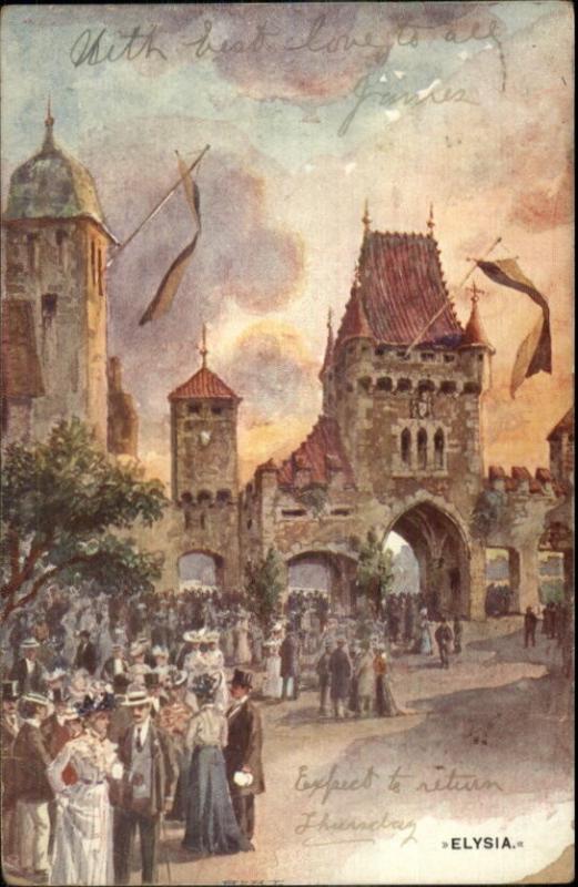 1906 Austrian Exhibition Earl's Court London ELYSIA Postcard