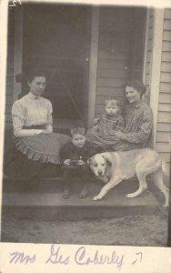RPPC Edd Coberly, Silverton, Oregon Family, Dog Photo c1910s Vintage Postcard