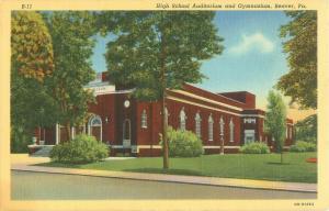 Beaver, PA High School Gym & Auditorium Pennsylvania Linen Postcard OB-H1283
