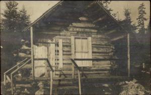Log Cabin CAMP RYDER - Spencer ME Cancel Somerset County Real Photo Postcard
