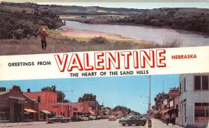 Valentine Nebraska~Street Scene~Rexall~Clock~50s Cars~Man Viewing River~1961 Pc