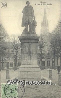 Statue Simon Stevin Bruges, Belgium 1920 Stamp on front