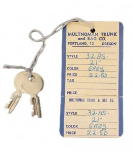 Vintage Keys With Multnomah Bag Company Tag Portland OR. Ephemera Collectible