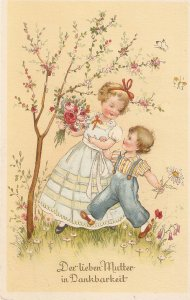 Girl nd boy walking with flowers for mother Vintage German Greetings Postcrd