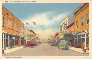 Idaho Falls Idaho Park Ave Street Scene Linen Antique Postcard K23594