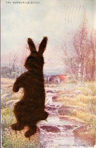 Novelty Easter Card with a cut out felt brown bunny attached.