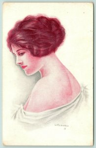 W Heath Robinson~Lovely Lady in White Wrap Looks Back Over Shoulder~c1912