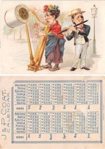 Victorian Trade Card Calander 1890Approx size inches = 2.75 x 4 Pre 1900 ligh...