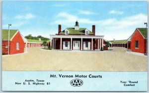 Vintage Austin, Texas Postcard MT. VERNON MOTOR COURTS Highway 81 Roadside Linen