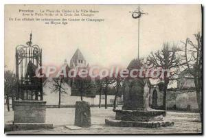 Old Postcard Provins Place du Chatel City High fodal cross currency well