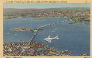 SAN FRANCISCO, California, 30-40s ; Airliner over San Francisco, Bay Bridge