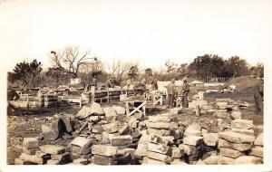 Real Photo Postcard~Stonemasons at Work~Army Lt F.R. Undritz Photographer~c1930s