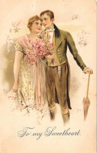 Regency Romance~To My Sweetheart~Couple Arm in Arm~Flower Bouquet~1906 PC