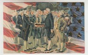 P2087, 1776-1976  patriotic postcard usa flag washington,s inauguration as presi