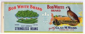 Bob White Tomatoes Vienna MD Vintage Can Label Clay Webb