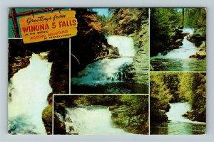 Stroudsburg PA- Pennsylvania, Winona 5 Falls, General Greetings Chrome Postcard