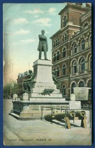 Atlanta Georgia ga Henry Grady Journalist Orator Monument old postcard 1909