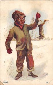 E66/ Black Americana Postcard c1910  Boy Hunting Rabbits 21