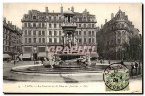 Lyon Old Postcard Fountain Place des Jacobins