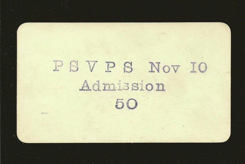 1932 Coleman Alberta Canada Polish Hall Association PSVPS 50C Admission Card