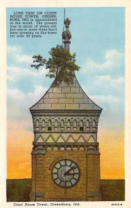 Greensburg Indiana~Lone Tree On Court House Tower~1920 Postcard