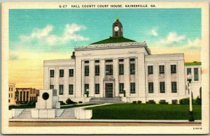Vintage Gainesville, Georgia Postcard Hall County House Building View / Linen