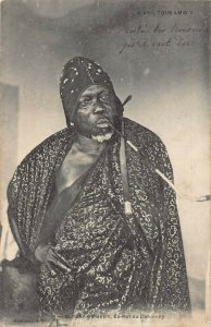Algeria Blida ex Benin Dahomey King Behanzin smoking pipe Postcard