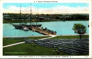 South Drill Field USS Constellation Wharf Naval Station Newport RI Postcard PC