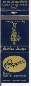 Matchbook Cover ! Louis Pappas Retsaurant, Tarpon Springs, Florida !.  !