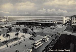 Vintage Italy Postcard, Rome, Terminus Station Square T27