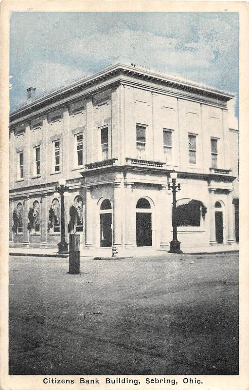 E53/ Sebring Ohio Postcard 1945 Citizens Bank Building Mahoning Co