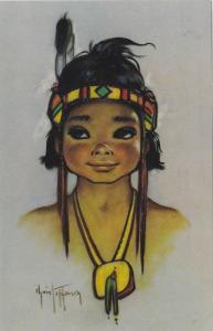 Illustration of Native American Child, Falling Rain, 40-60´s