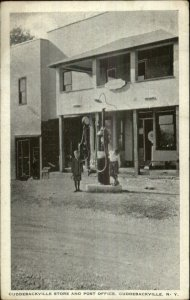 Cuddebackville NY Store Post Office Gas Pumps c1920 Postcard