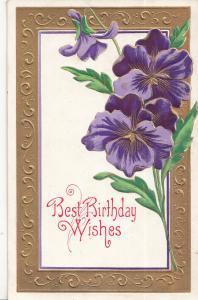 Antique Best Birthday Wishes embossed purple violet flowers fantasy postcard