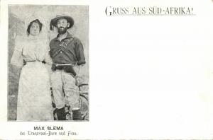 BOER WAR, Transvaal Boer Soldier Max Slema with his Wife (1899) Postcard