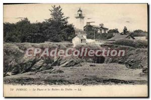 Postcard Ancient Pornic Lighthouse and Rocks of the Devil