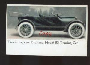 REAL PHOTO OVERLAND MODEL 88 TOURING CAR DEALER ADVERTISING POSTCARD