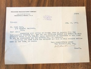 Indianapolis Indiana - 1904 - LETTER -  ROCKWOOD MANUFACTURING COMPANY