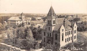 Mora Minnesota~High School & Kanabec Court House Panorama~Roads~Homes~c1910 RPPC