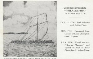 Continental Gondola PHILADELPHIA in 1776, Valcour Bay; 1936