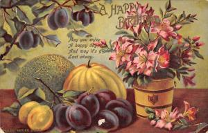 A Happy Birthday, plums, prunes, fruits, flowers, artistic table