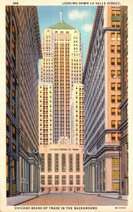 Illinois Chicago Looking Down La Salle Street Board Of Trade In Background 19...