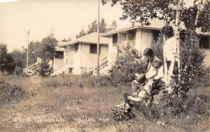 Naples Maine~Camp Wenonah~Girls Under Birch Tree~Cottages~Cabins~1930s RPPC