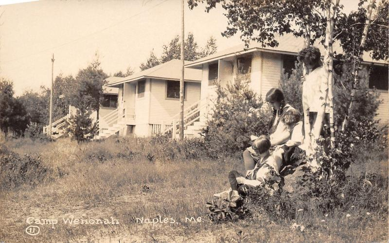 Naples Maine~Camp Wenonah~Girls Under Birch Tree~Cottages~Cabins~1930s RPPC