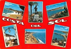 Spain Costa del Sol Beach Promenade Plage Statue Monument Postcard